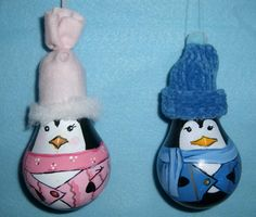 Light bulb Christmas ornaments: Penguins $8. ea.