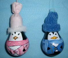 lightbulb, theyr light, bulb christma, bulb penguin, christmas ornaments, christma ornament, light bulb