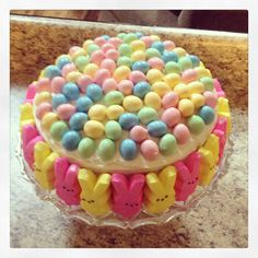Easter Cake with Peeps and Chocolate Eggs. So much fun for the kids!