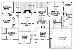 Home Plans HOMEPW02979 - 2,187 Square Feet, 4 Bedroom 2 Bathroom Ranch Home with 2 Garage Bays