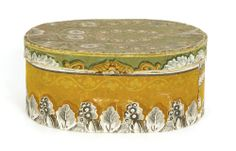 "Pennsylvania wallpaper box, 19th c., with mustard body and a green lid, 4 3/4"" h., 10 3/4"" dia."
