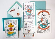 Adorable, hand illustrated, nautical wedding invitation set