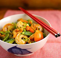 Recipe for shrimp and bell pepper stir-fry with Asian cilantro vinaigrette {gluten-free} - The Perfect Pantry®