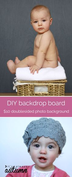 want to take photos at home? this post shows you how to make an easy DIY backdrop board in just the time it takes to paint - you get two colors of photography backdrops for about $10!