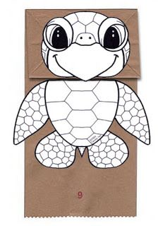 Turtle printable...  Origami n' Stuff 4 Kids: Crafts: Paper Bag Puppets, Owl and Turtle