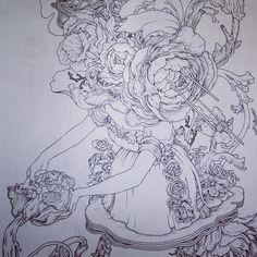 """""""Milk Maiden. Excerpt of a drawing in progress."""" ~ James Jean #art #JamesJean"""