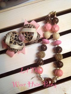 Cheetah, Pink , and Neutral Chunky Bead Necklace and Hair Bow Set for Little Girls, Toddler, Tween, Adult, Infant Photo Prop/Pictures on Etsy, $22.00