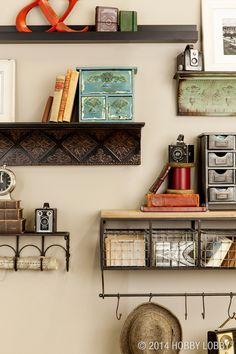 Add easy-to-install shelves to create an open storage area for displaying art, books and accessories.