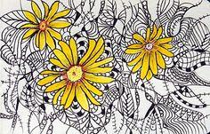 color in zentangles color, paint daisi, fractal