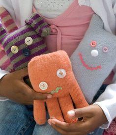 craft kids, stuffed toys, animals, winter fun, gloves, octopus, little monsters, diy, craft ideas