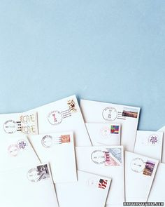 Hand-Canceling - Remember to do this! Take invitations to the post office and request Hand-cancelling so you don't get ugly bar-codes printed on your invitations.  I didn't even know that was an option...also has other advice for invitations