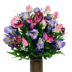 Pink Tulips, Purple Iris and Purple Orchids          (Silk Cemetery Flowers)
