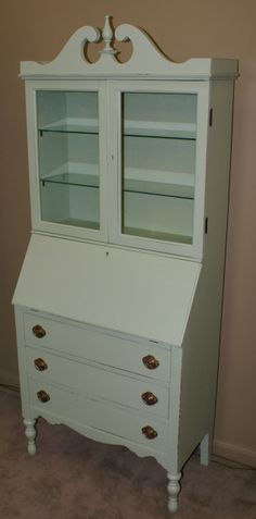 painted secertary desk | Shabby chic painted green secretary desk