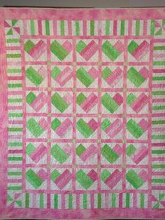Heart Quilt in Pink and Green