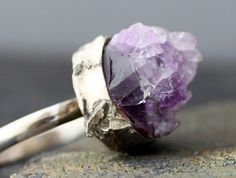 Sterling amethyst chunk ring