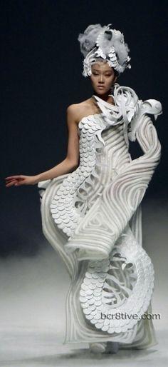 China Fashion Week, futuristic fashion, avant garde, girl in white by FuturisticNews.com