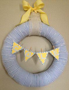 Blue Seersucker Baby Boy Wreath perfect for baby shower, hospital door, or nursery on Etsy, $35.00
