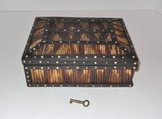 Antique Porcupine Quill Box Ebony with Ivory by SusieSellsVintage, $40.00
