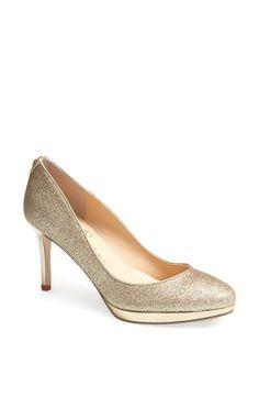 Gold glitter pump by Ivanka Trump