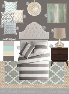 "Benjamin Moore colors:    1) light gray: BM ""Gray Mirage""  2) light aqua: BM ""At Sea""  3) light khaki: BM ""Wood Ash""  3) dark gray: BM ""Rocky Coast"" - love these colours for the"