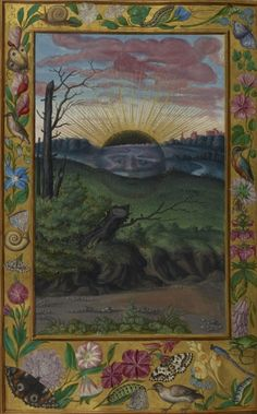 Black Sun (Sol Niger) setting on the outskirts of a city from Splendor Solis (an alchemical treatise), Germany, 1582