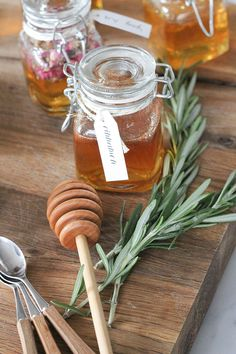 If you're having a modern-day tea party for your shower, party favors of honey will make a super sweet gift!