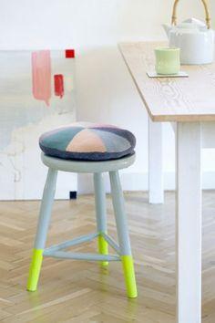 Dipped Neon Paint Stool. #diy #howto #doityourself #livingwikii #diyrefashion #ideas #partymostess #tricks #home #tips