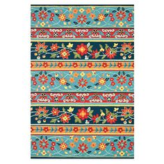 Handmade rug with multicolor floral striping.  Product: RugConstruction Material: 100% WoolColor: