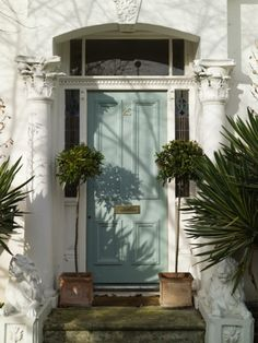 Duck egg blue door with plants and a white surround. Lovely for a townhouse/ terrace house.