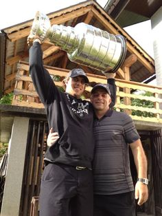 Anze Kopitar  his father with the Stanley Cup in Slovenia
