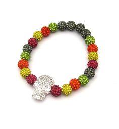 Skull Stretch Bracelet with Swarovski Crystal Beads...perfect for Gasparilla!