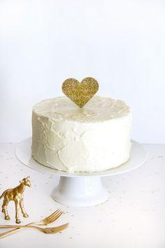 Gold Glitter Heart Cake Topper - darling for weddings, birthdays, anniversaries, or baby showers. http://splendidsupply.com