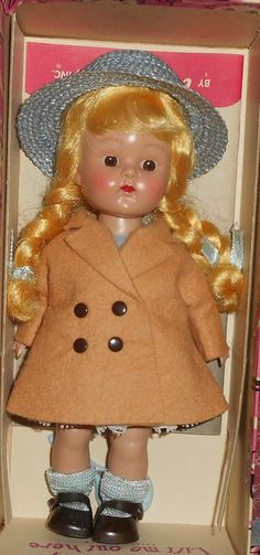 Strung SLW Blond Braided Ginny in Tan Coat, Blue Dress, Hat, Shoes, Box, Accy