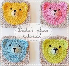 FREE Tutorial from Dada's place: Teddy Bear Granny Square. So adorable! teddi bear, crochet tutorials, teddy bears, tutorial crochet, baby blankets, granni squar, granny squares, crochet patterns, baby bears