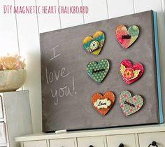 DIY magnetic heart chalkboard with Podgeable magnets chalkboards, gift, diy valentine present, diy magnet, crafti, heart magnet, chalkboard paint, heart chalkboard, famili heart