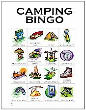 Printable Camping Bingo . . . good for gearing up for next camping trip, especially if there's bad weather.