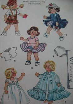 Vintage 50s McCalls Pattern 1898 Doll Clothes Ginny 8 Inch