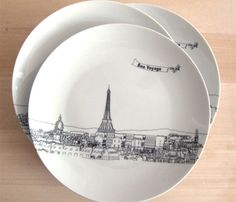 Skyline Dessert Plates  by Rust Designs    Skylines of some our favorite cities. Paris, London, New York, Seattle, San Francisco.