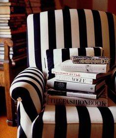 armchair, coffee tables, offic, fashion books, black white, reading chairs, bedroom, stripe, coffee table books