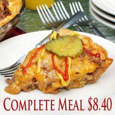 Cheeseburger Pie - Complete Meal under 10 bucks!