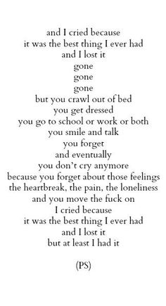 I had you.  Don't ever forget that.  You can push me away and ignore me but you can't erase me.  Lacuna doesn't exist.