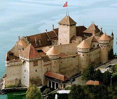 Château de Chillon, Veytaux, Montreux, Switzerland...... http://www.castlesandmanorhouses.com/photos.htm  The Château de Chillon (Chillon Castle) is an island castle located on the shore of Lake Geneva in the commune of Veytaux, at the eastern end of the lake, 3 km from Montreux The first written record of the castle date to 1160. The Château de Chillon was made popular by Lord Byron, who wrote the poem The Prisoner Of Chillon.