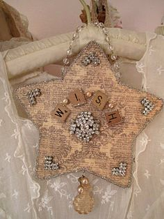 Crafty Wish Upon A Star * cut out of decorative paper, vintage brooch and scrabble pieces. From:: The Robin and Sparrow