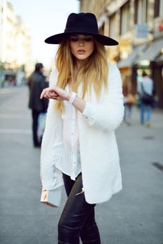 BlackWhite #outfit #hat #rock