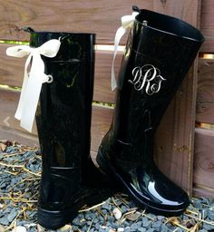 Rainy London Fashion Week Gift for Her:  Monogramed Black Gloss Rain Boots by Puddles N Rain Boots @ Etsy