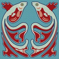 Art Needlepoint Art Nouveau Fish Needlepoint Kit