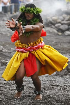Dancer Performing Kahiko at Halema'uma'u Crater, Big Island, Hawaii