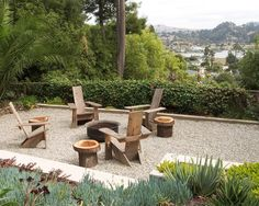 fire pits, adirondack chairs, idea, side tables, logs, landscape designs, outdoor design, garden, fire pit designs