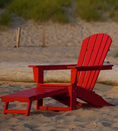 South Beach Ultimate Adirondack with Hideaway Ottoman. Available in 13 colors. Made from maintenance free recycled plastic lumber.