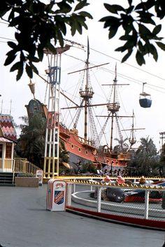 Pirate Ship and Dumbo in Fantasyland, Disneyland - October 1967